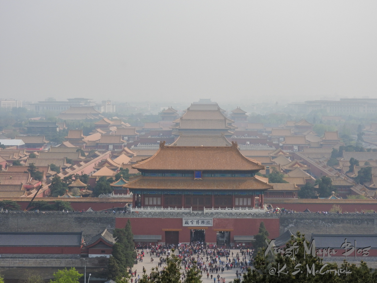 View looking down on the Forbidden City from a nearby hill.