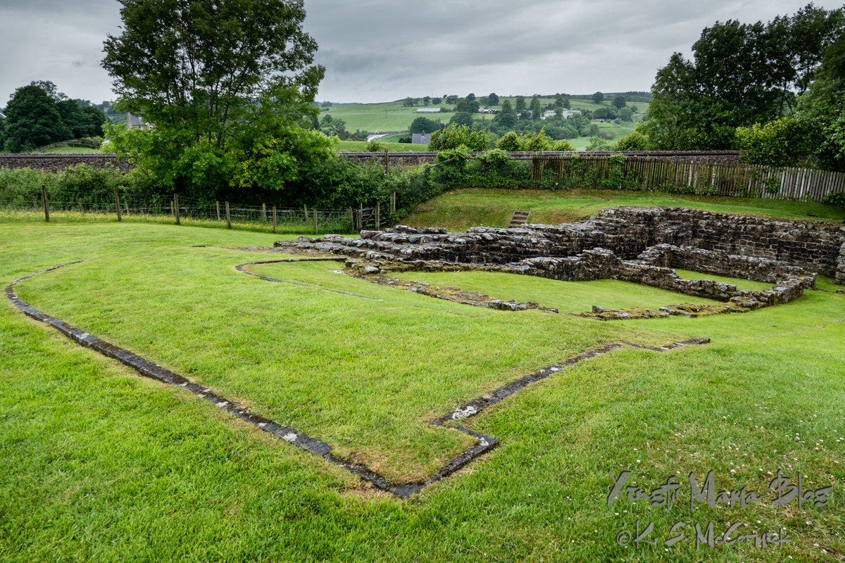 The outlines of a milecastle on the wall are visible in the ruins at Poltross Burn in Gilsland on the border between Cumbria and Northumberland in northern England.