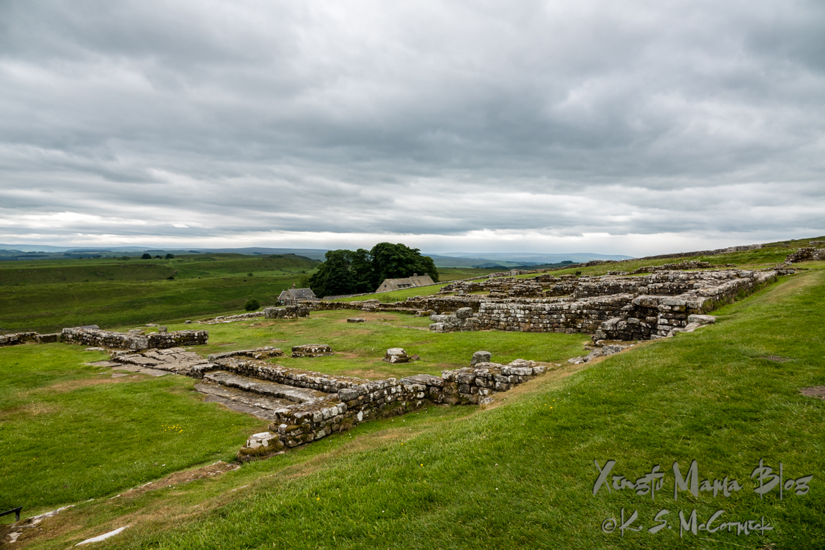 Ruins of Housesteads Fort along Hadrian's wall and the view across the countryside.