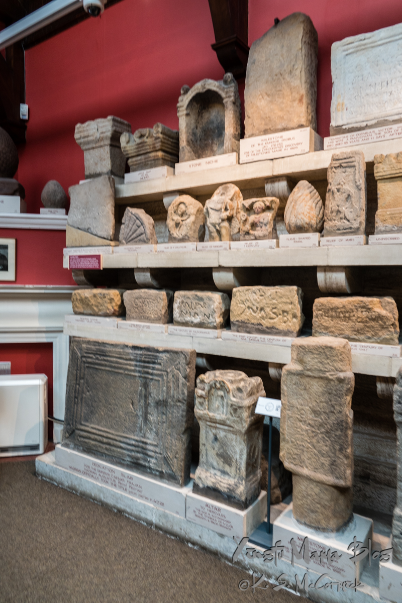 The museum at Chester's Fort has an amazing number of fascinating artifacts from on site excavations and several locations along Hadrian's Wall. Chollerford, Northumbria, England.