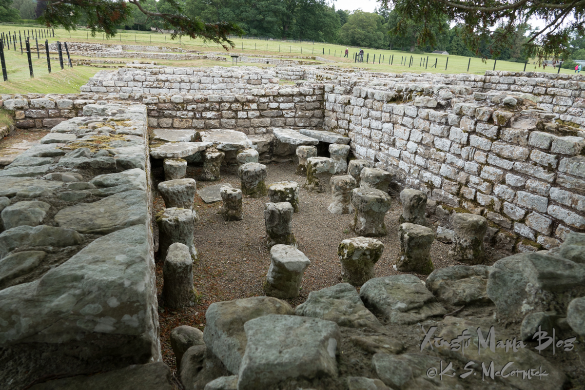 The floor supports for a heated room at Chester's Fort. Chollerford, Northumberland, England.