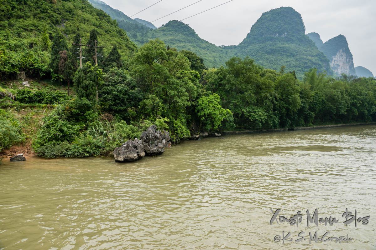 Karst rocks among the verdant vegetation on the banks of the Li River. Guilin, China.