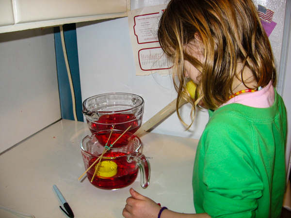 A girl in a green shirt uses a turkey baster to carefully add red water in a science experiment.