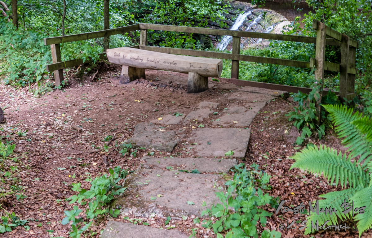 """Rustic log bench, with the words """"Look for something beautiful everyday"""" etched on its side, site beside a waterfall, on Hadrian's wall path in Cumbria, England."""