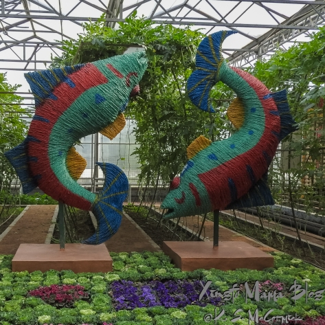 Pisces rope sculptures at the