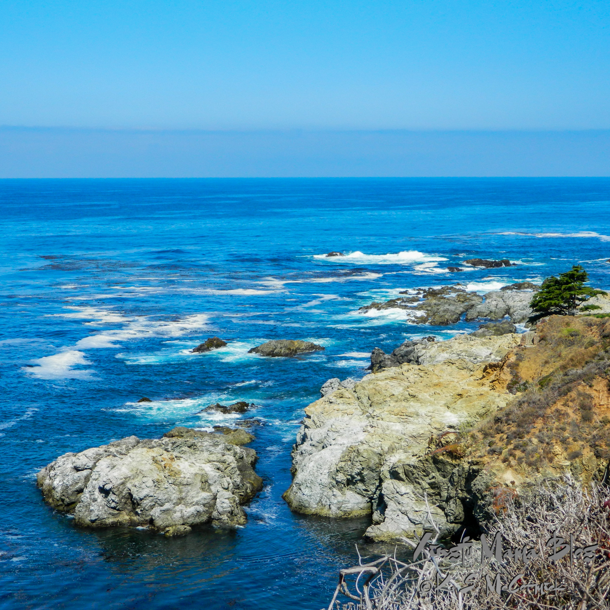 Blue sea and sky along the California Coast