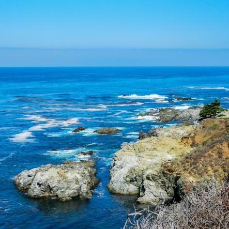 Blue sea and sky along the California Coast
