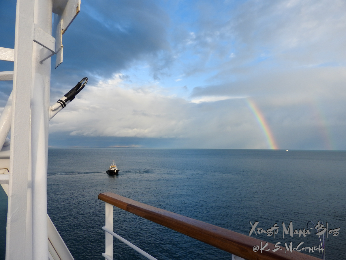 Double rainbow on the Strait of Magellan near Punta Arenas, Chile.
