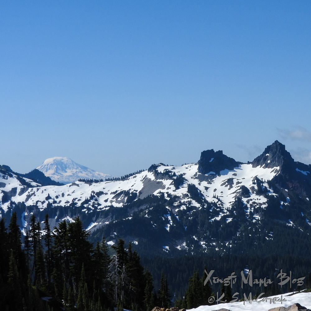 The Tatoosh range in the Cascade Mountains of Western Washington State with Mount Adams peeking over their shoulder.
