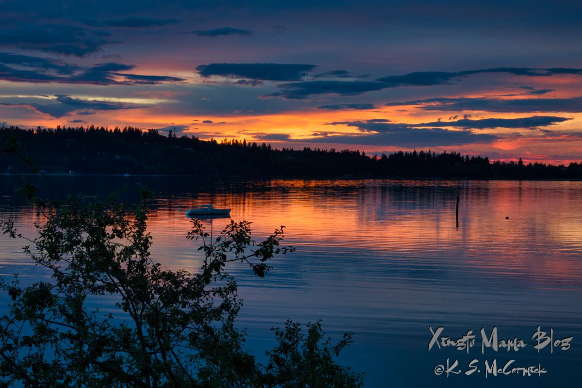 Sunset over the Kitsap Peninsula on Puget Sound.