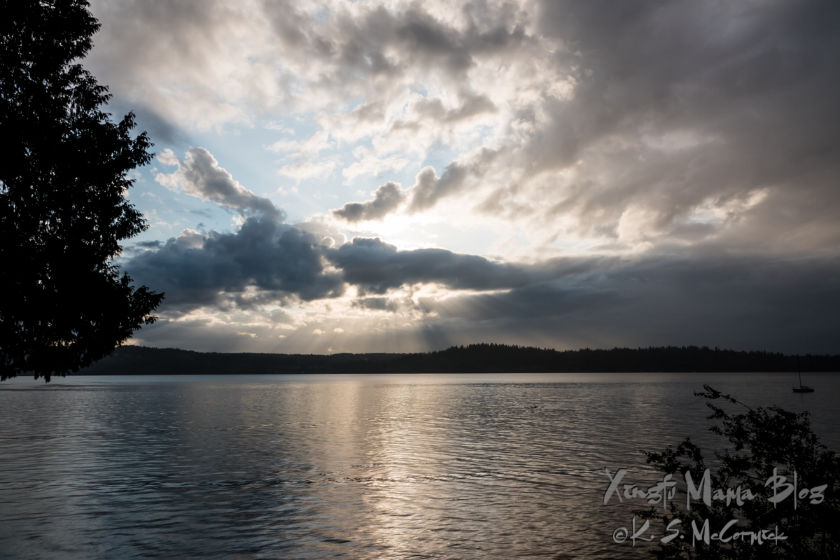 Dramatic storm clouds over Puget Sound.