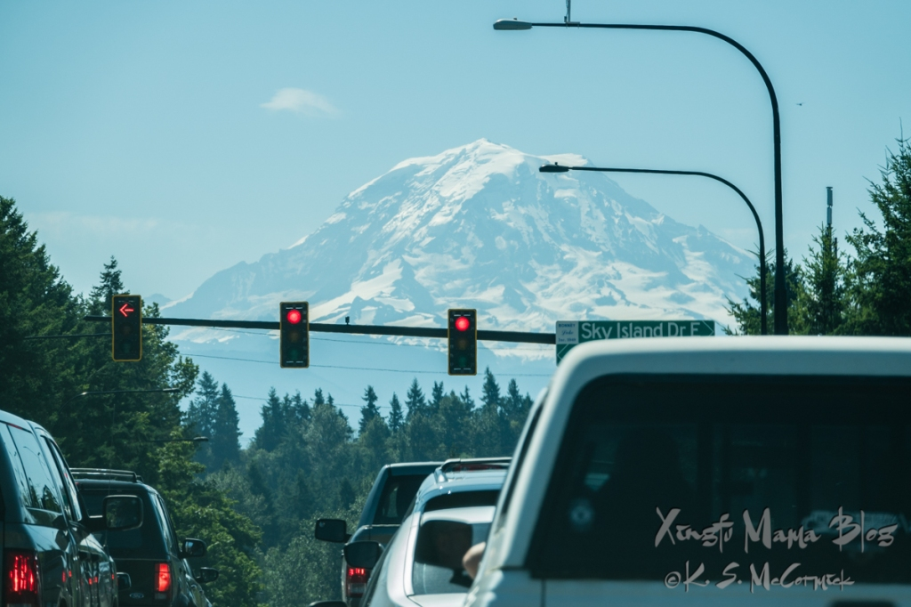 At a stop light in Enumclaw it looks like you will be driving straight at Mount Rainier.