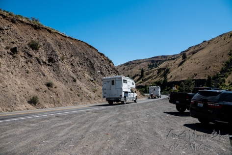 A road in Eastern Washington with dry landscape.