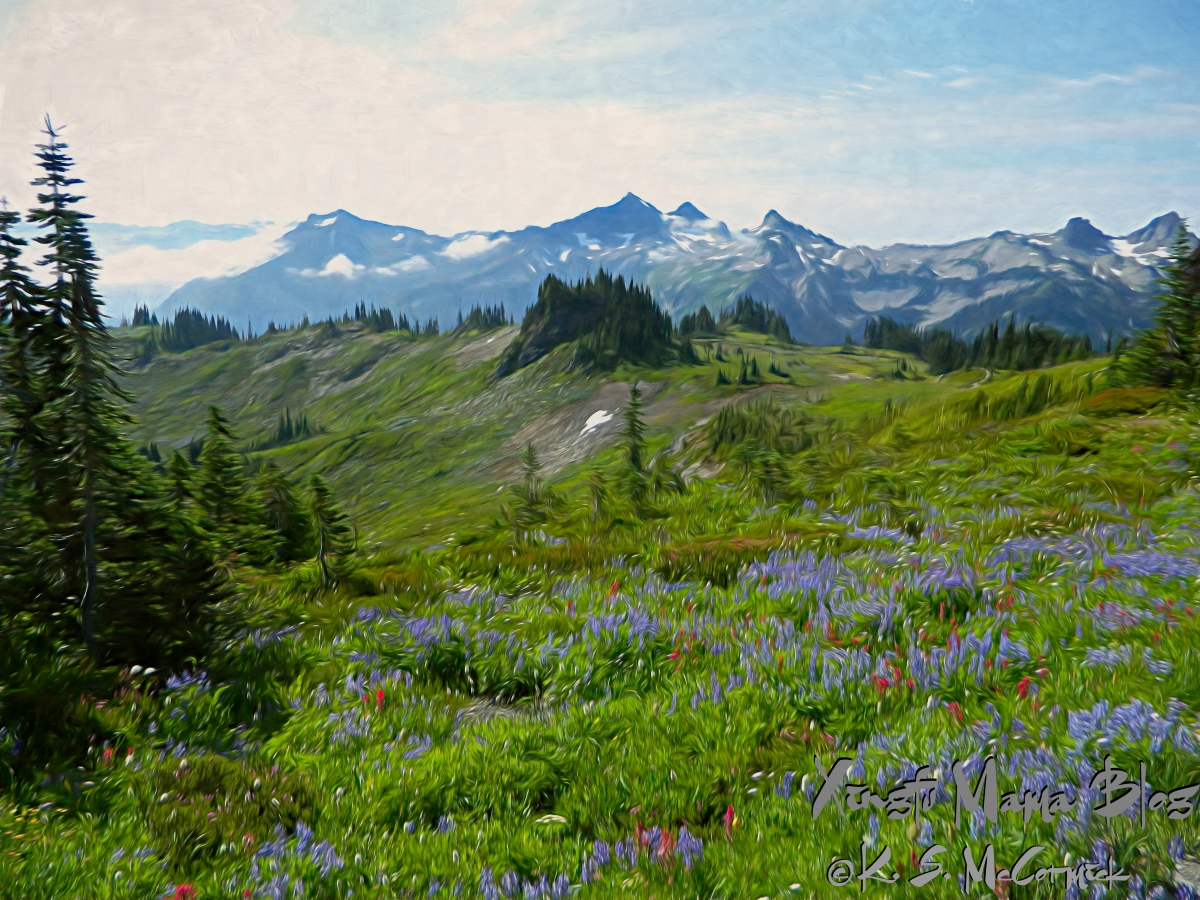 Stylized image of wildflower meadows at Paradise in Mount Rainier National Park.