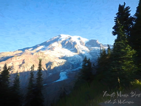 Digital art made from a photo of Mount Rainier from Nisqually Glacier overlook at Paradise in Mount Rainier National Park.