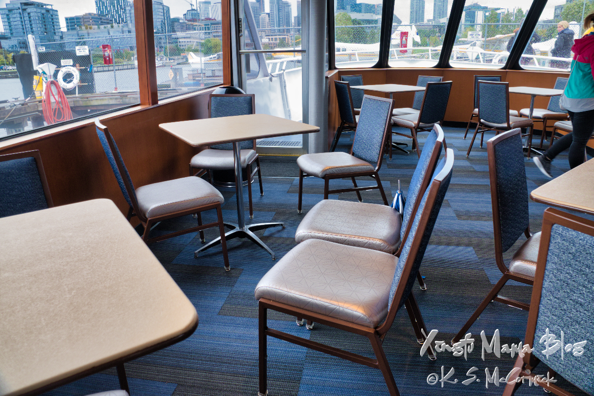 The lower level indoor seating on our Argosy cruise, for those who didn't want to get cold and wet...can you imagine visitng Seattle and not wanting to get cold and wet?