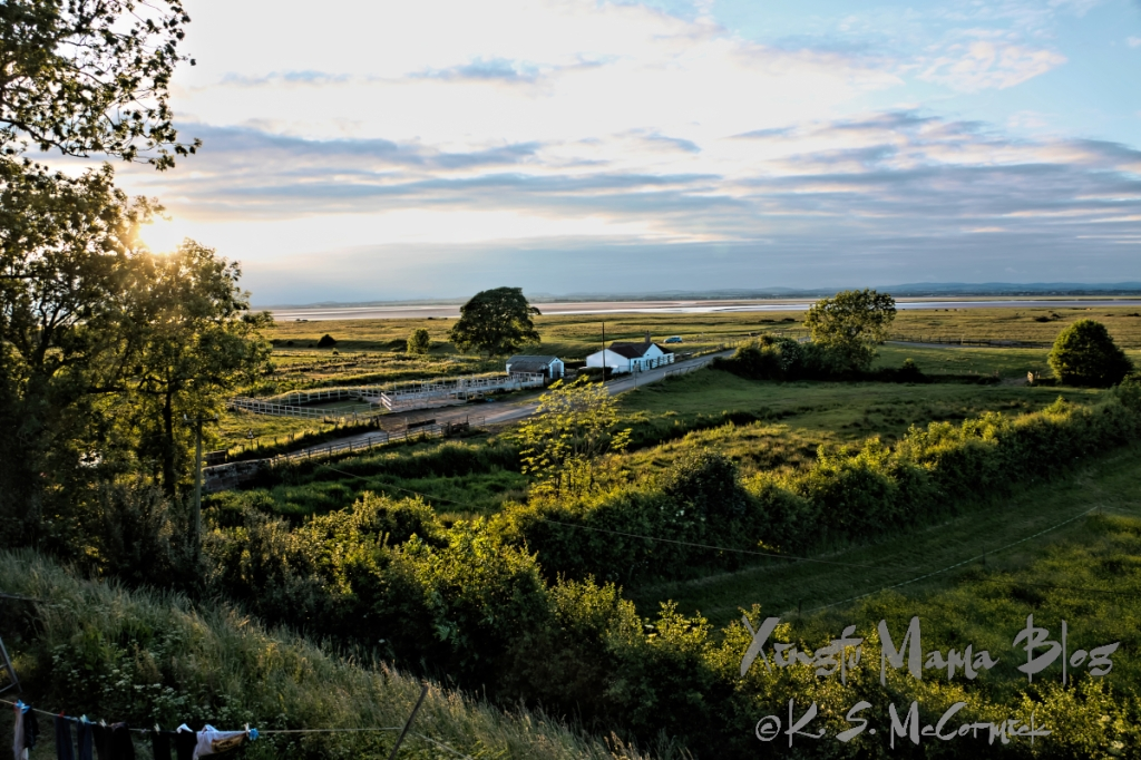 Countryside near Solway Firth, viewed from Boustead Hill, in Cumbria England.