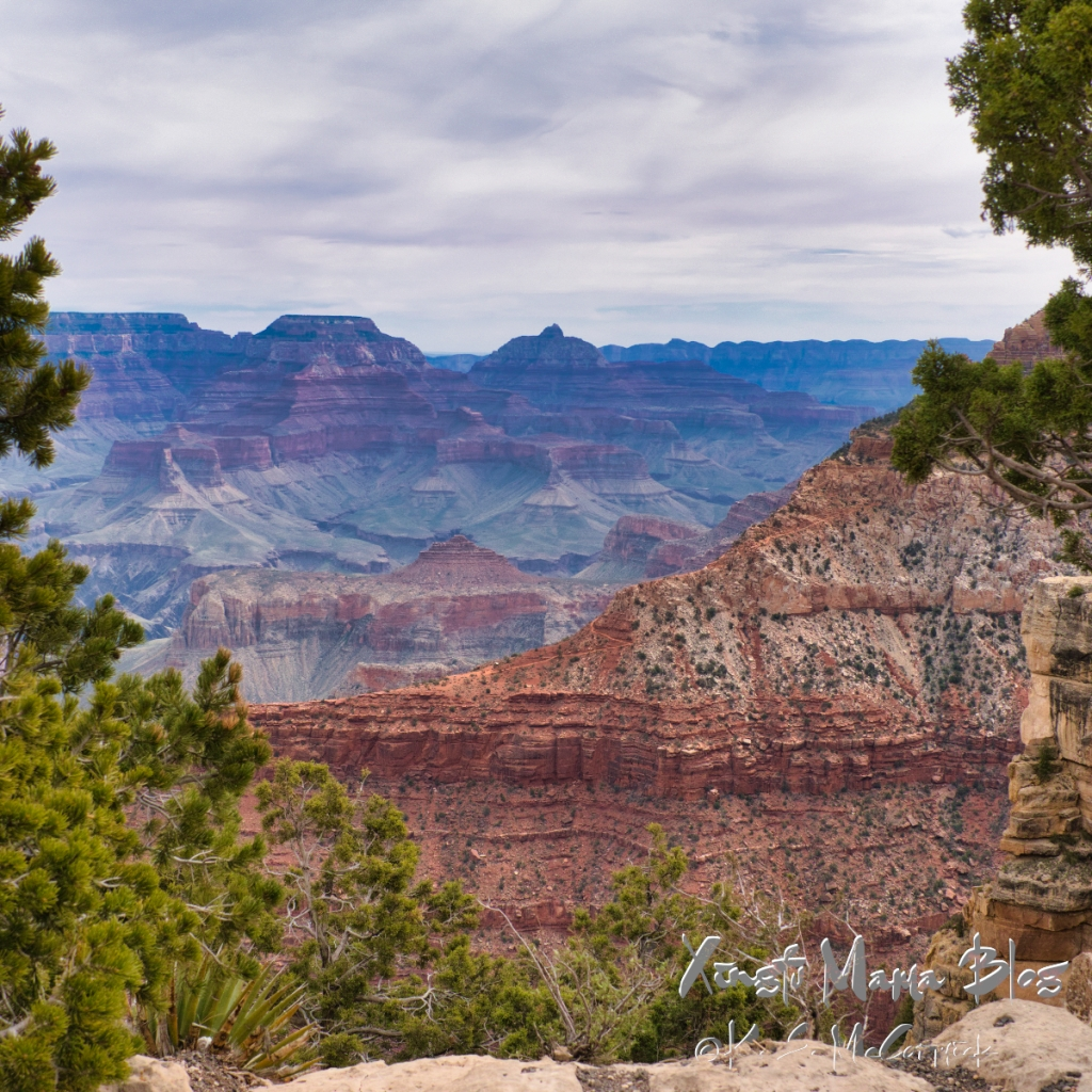 A square format photo of the Grand Canyon in Arizona showing horizontal lines of red sandstone.