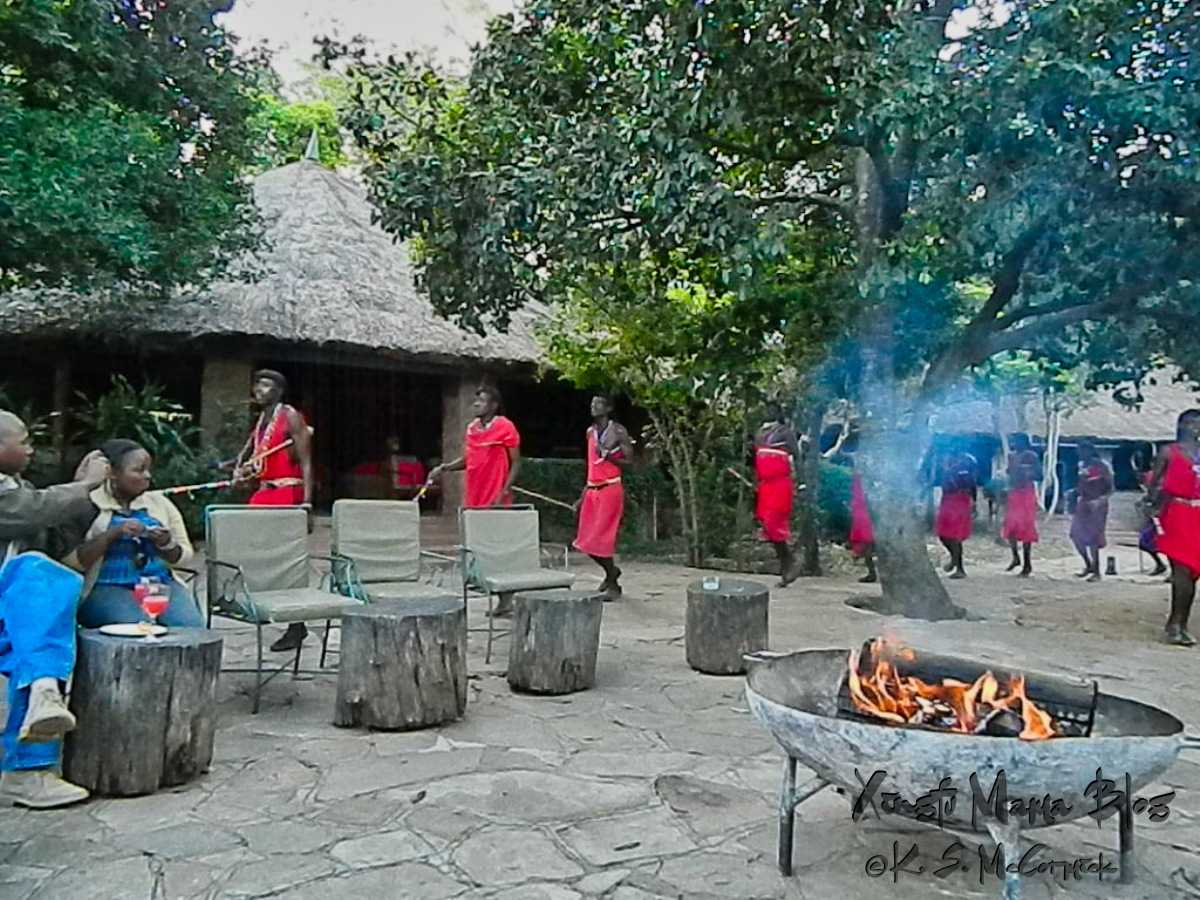 Seats by the fire for a performance by the local Masai tribe.