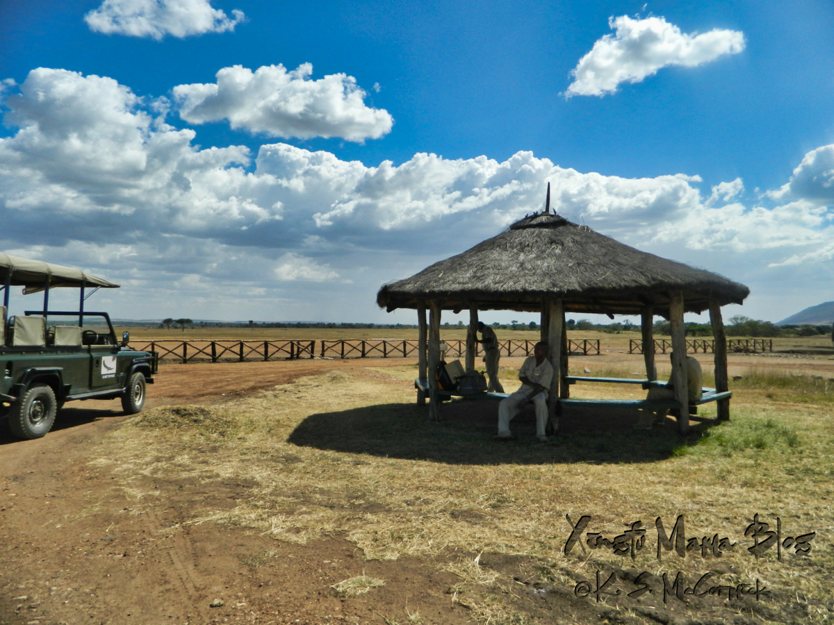 A gazebo provided shade for those of us waiting for an afternoon flight back to Nairobi.