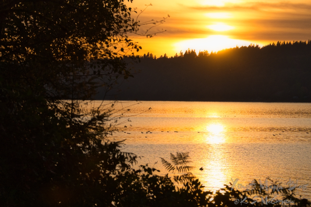 Sun setting over the Kitsap Peninsula.