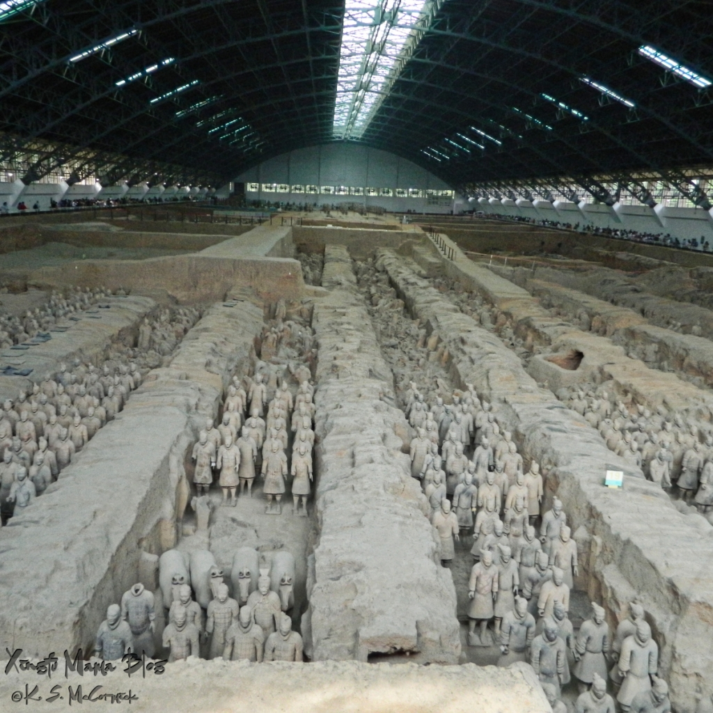 The famous terracotta army in line after line after line.