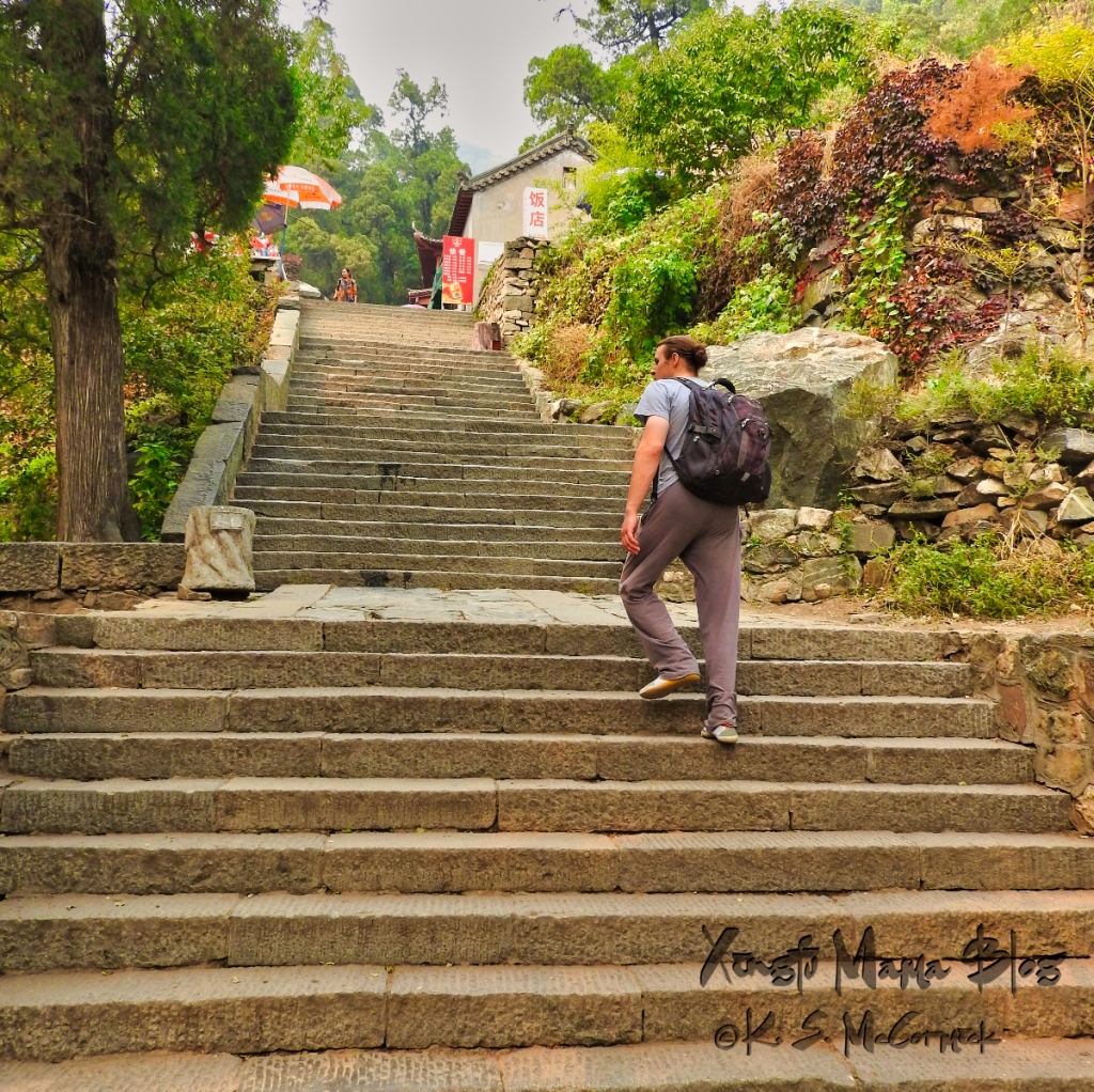 A man climbing stairs on Mount Tai in Shandong Province, China.