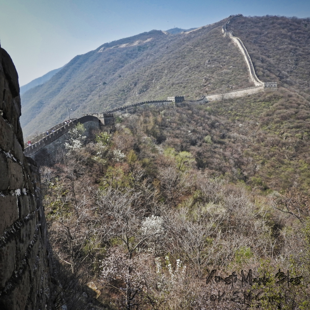 A view of the Great Wall of China, heading west. Photo taken at Mutianyu in the springtime.