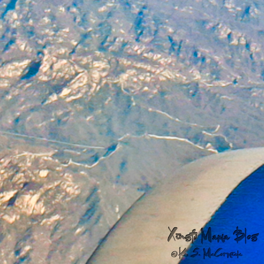 The Great Wall of China, in the Jiankou to Mutianyi section, from an airplane window.