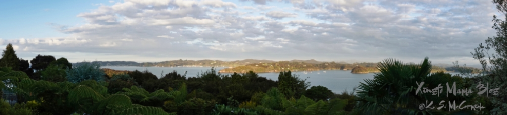 180 degree Panorama of Bay of Islands from Paihia in New Zealand.