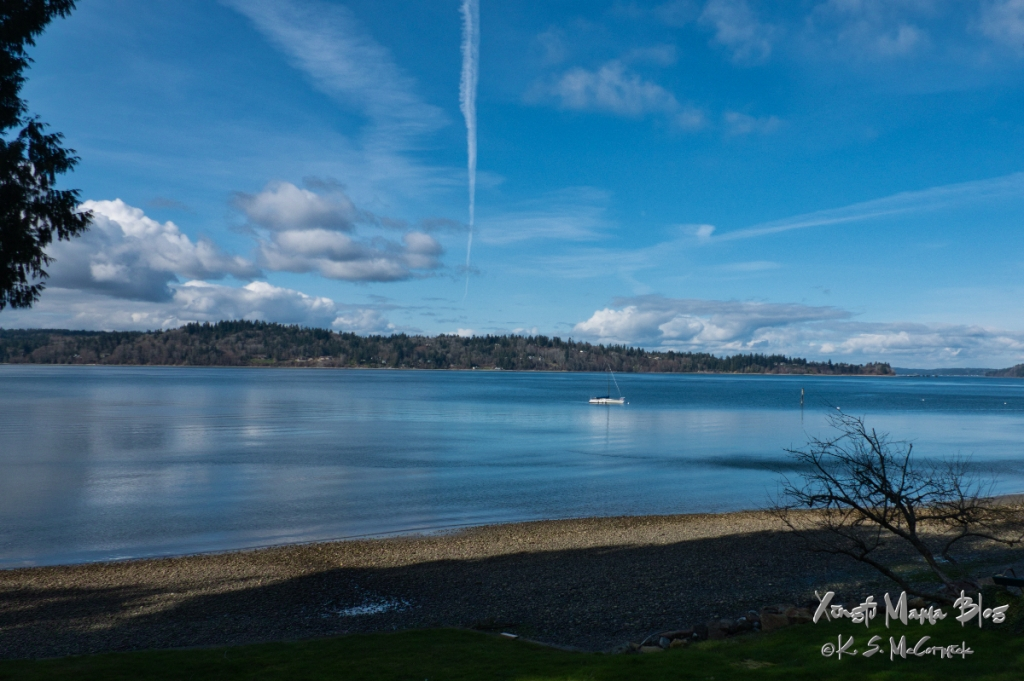 View of Puget Sound and the Kitsap Peninsula from Cedarhurst on Vashon Island.