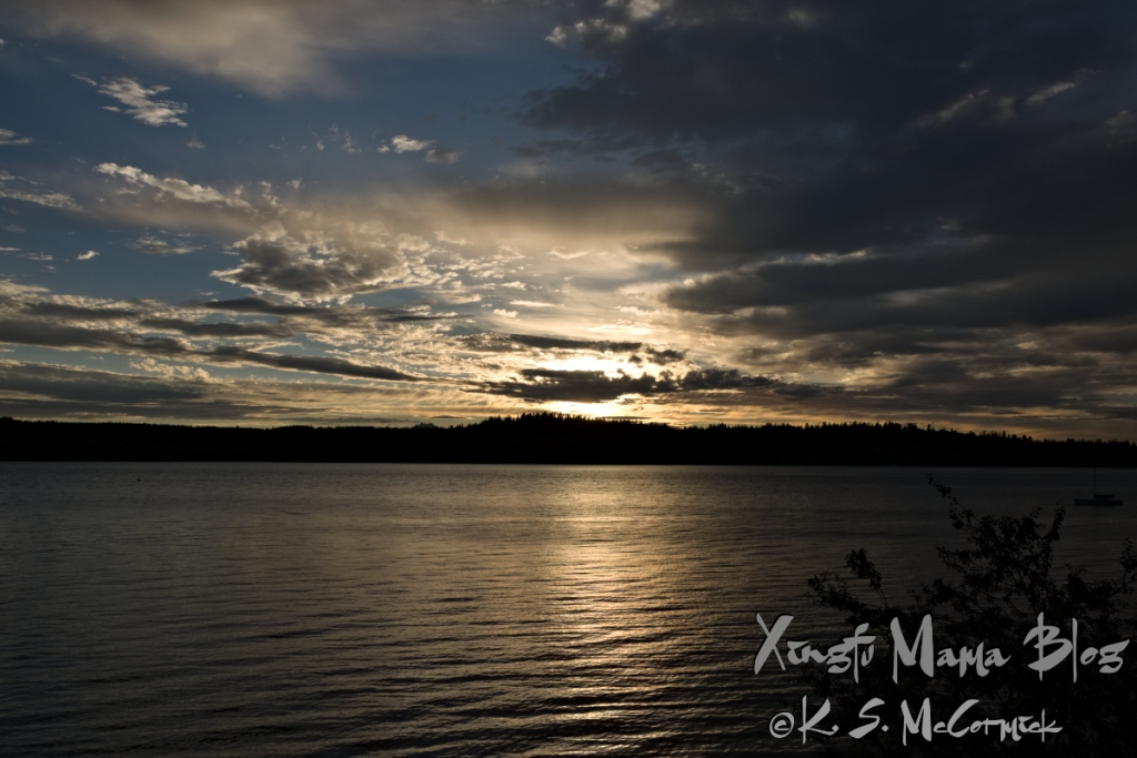 Sunset on Puget Sound in July.