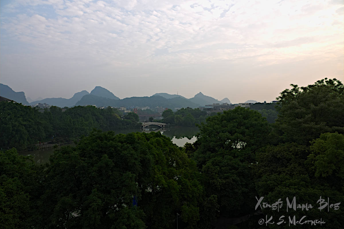 An early morning view of one of the lakes in the central part of Guilin city in China.