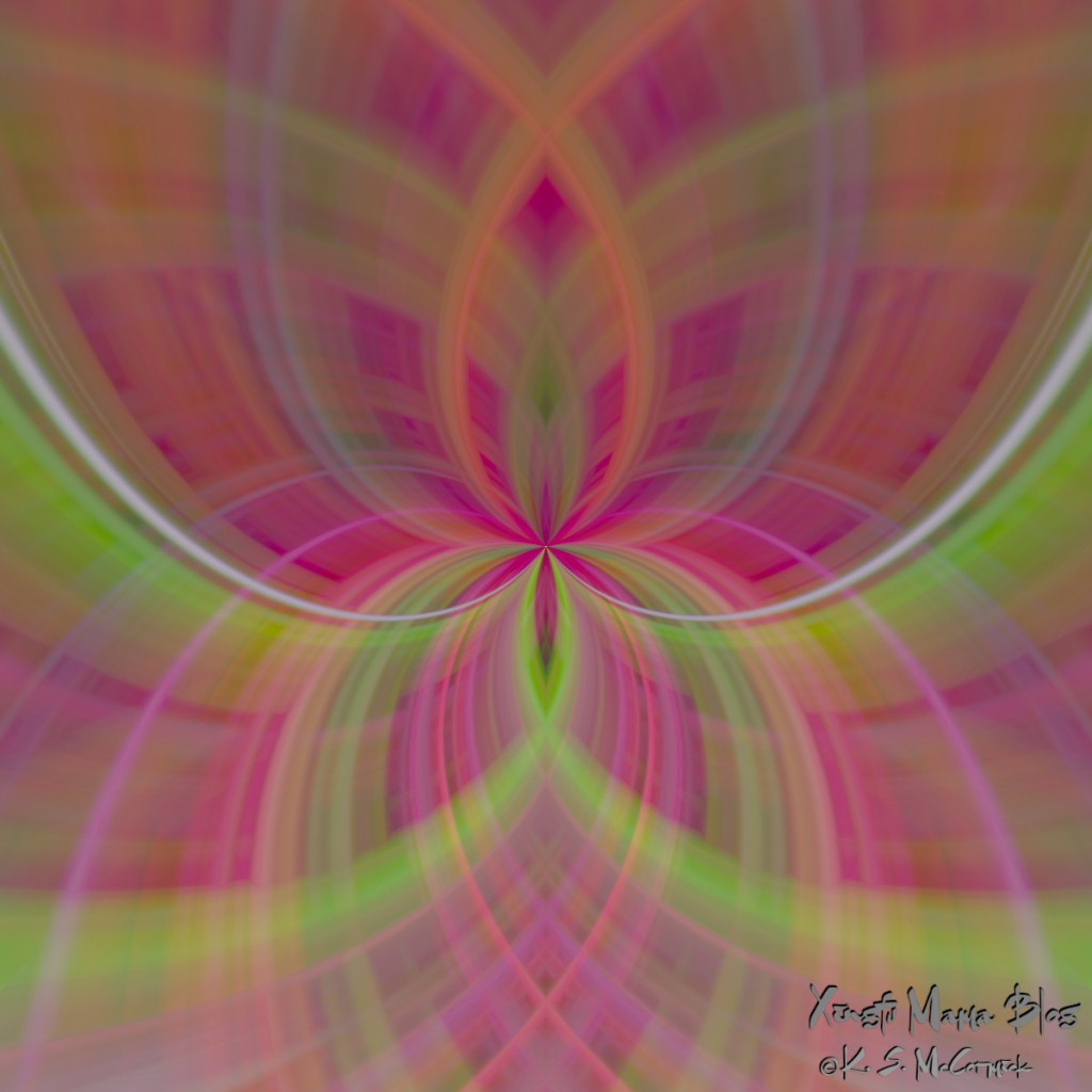 Abstract pattern formed by using zoom motion blur, pinch and whirl distortion, transformation and blending modes in the GIMP.