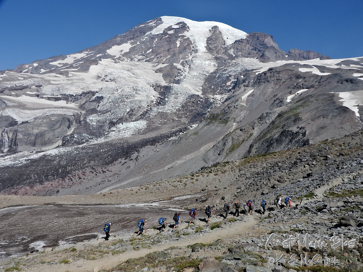 Line of climbers heading up to Camp Muir to start their ascent of the mountain.