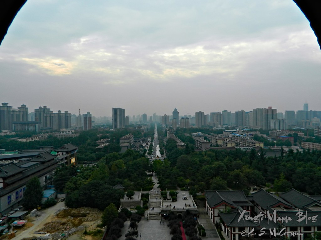 A view of Xi'an from the top of the Great Goose Pavilion.