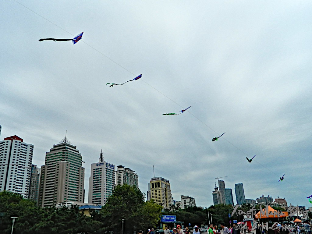 Kites flying on the waterfront in Qingdao.