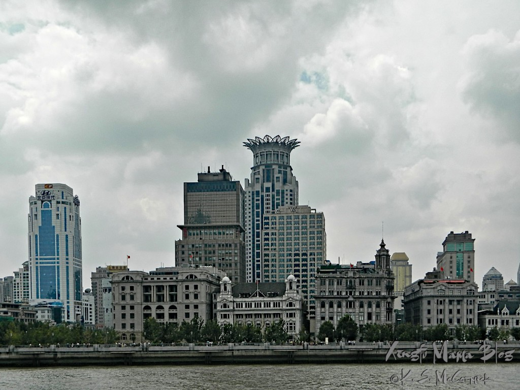 The Bund in Shanghai, viewed from a boat on the Huangpu River.