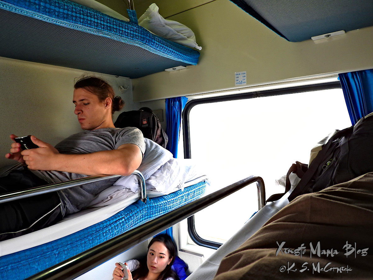 On a Chinese train in the hard sleeper class your assigned seat is a bunk. Thank goodness we were only on the second level!