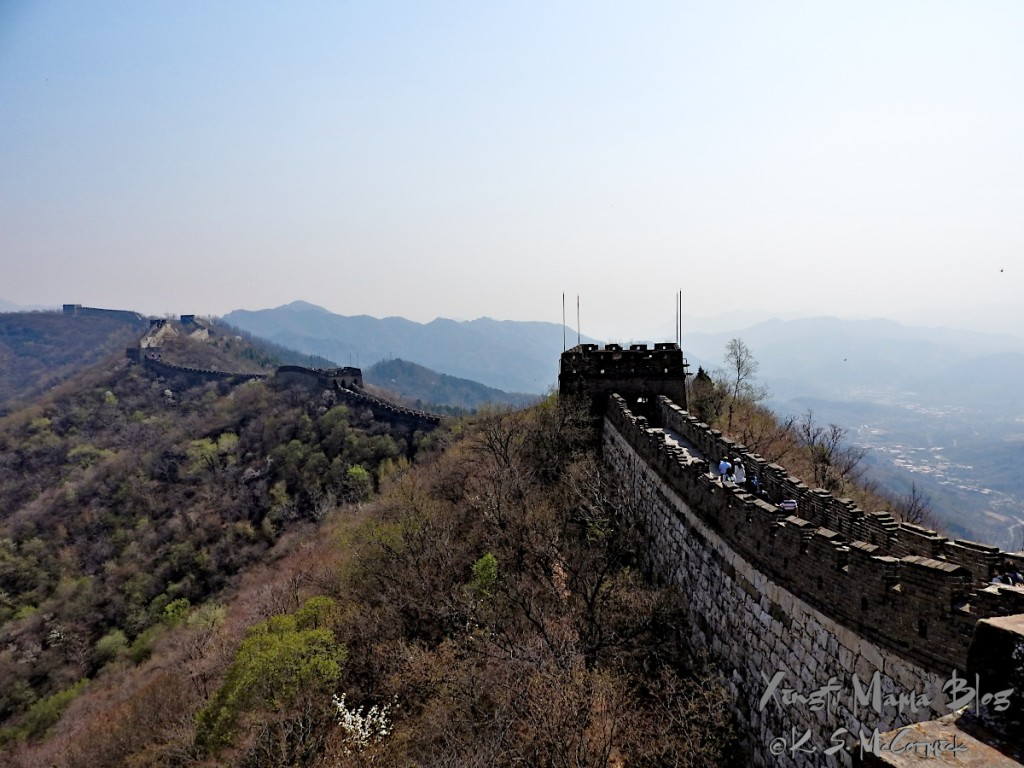 The Great Wall of China snakes along the skyline for many miles, this view is of the Mutianyu section, north of Beijing.