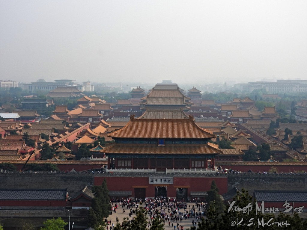 The Forbidden City in central Beijing, photo taken from the Jingshan (coal hill) park.