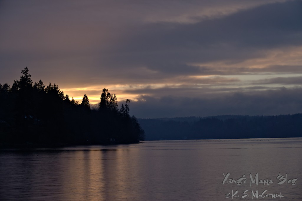 A cloud break near sunset over Colvos Passage on Puget Sound.