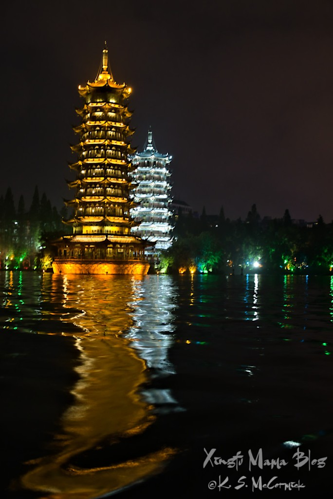 The Sun and Moon Pagodas in Guilin China.