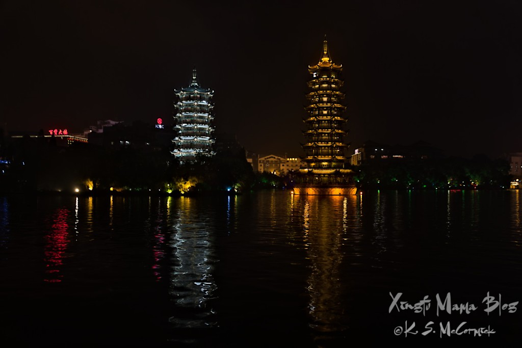 Sun and moon pagodas in Guilin China.