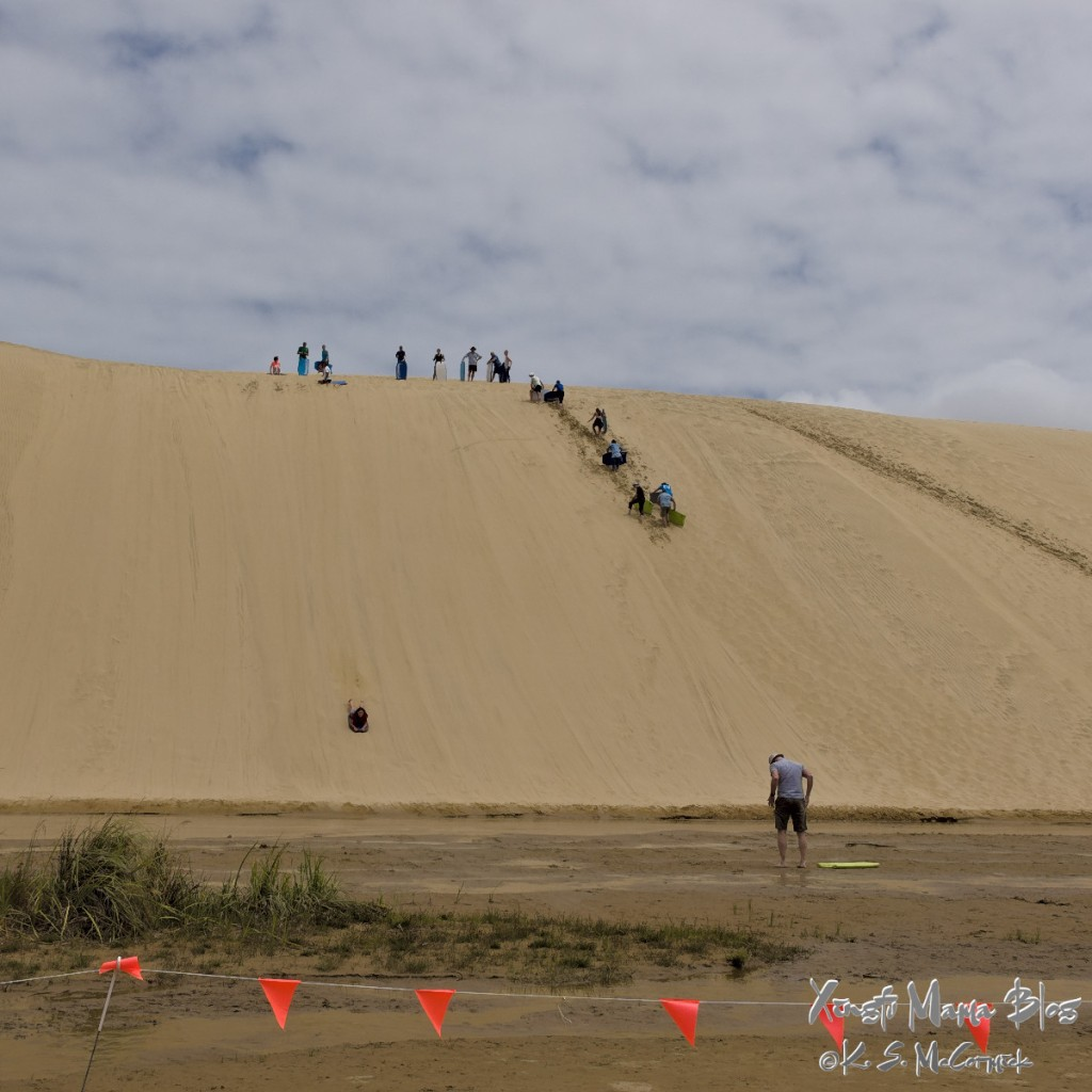 A line of people carrying boogie boards up a sand dune at Te Paki Stream at the north end of the north island in New Zealand.