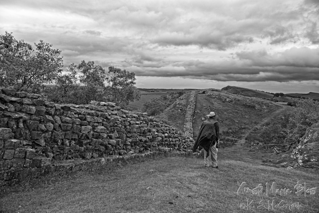 Hadrian's Wall along the dramatic hills of Cumbria in northern England.