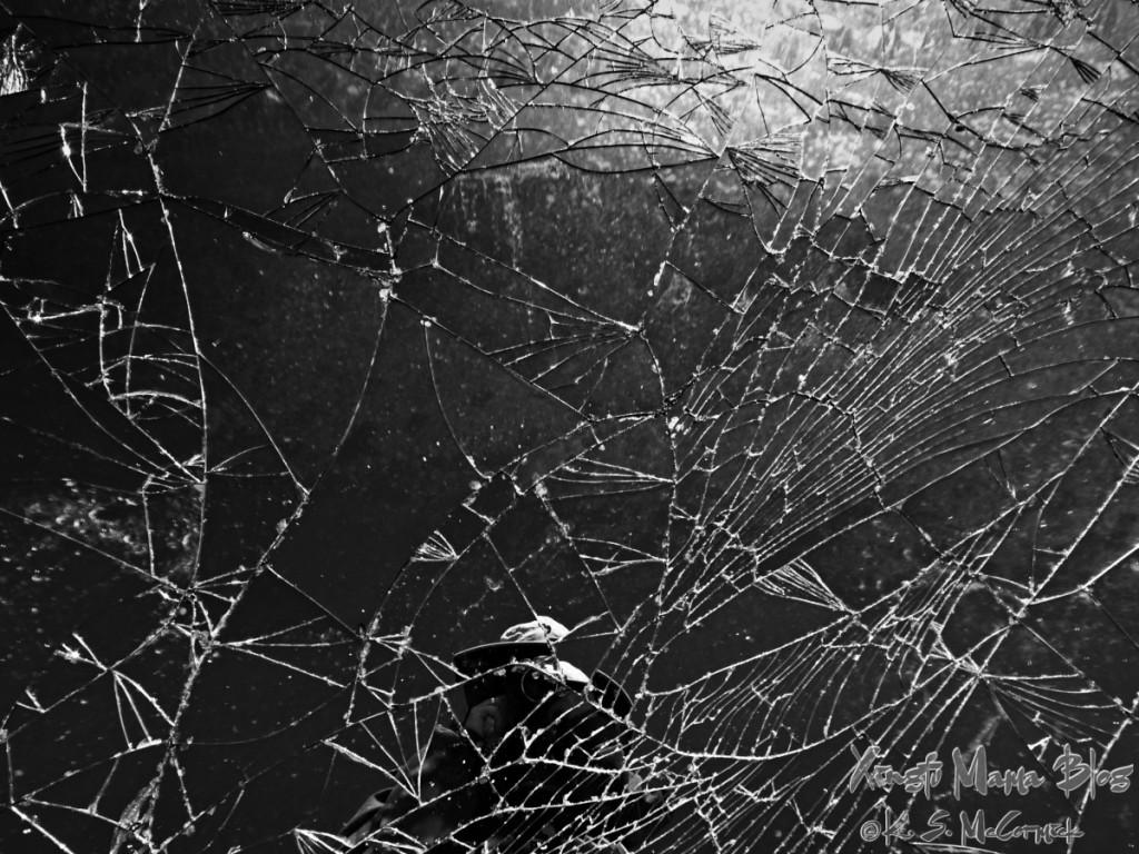A broken mirror found in the desert.
