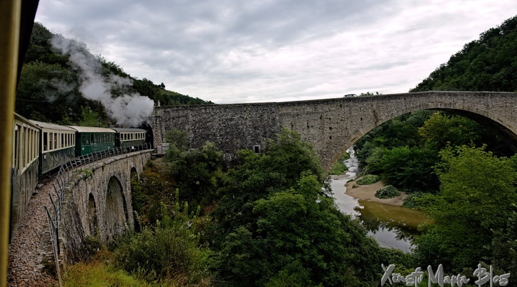 Train passing under the end of a stone bridge across the Doux River.